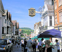 The busy high street on market day in nearby Guildford
